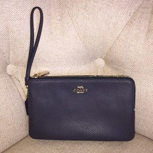 122449386ef ... Coach Leather Wristlet Wallet DoubleZipper Big